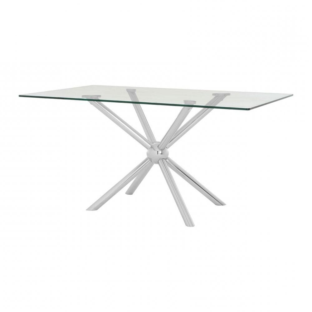 Steel And Glass Rectangle Dining Tables Regarding Fashionable Clanbay Novo Rectangular / Silver Dining Table, Steel, Tempered Glass, Silver (View 21 of 25)