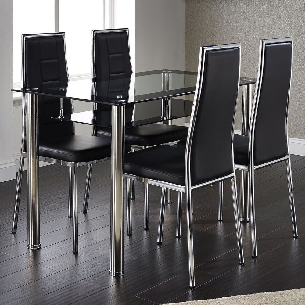 Steel And Glass Rectangle Dining Tables Throughout Most Current 4 Seater Rectangular Dining Set Leather Chairs Black Glass (View 18 of 25)