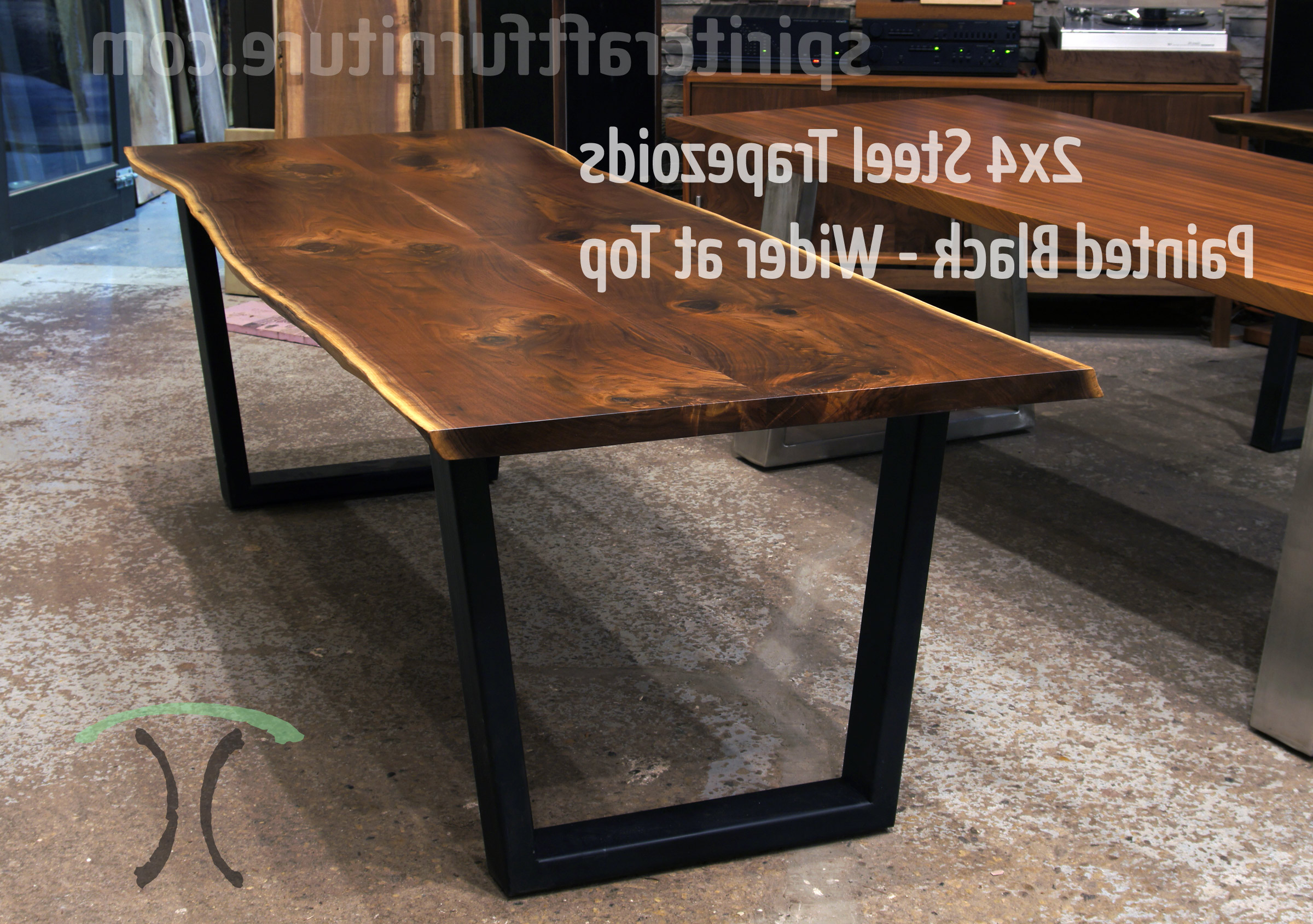 Table Legs And Bases For Hardwood Slab Table Tops Inside Most Up To Date Dining Tables With Black U Legs (View 10 of 25)