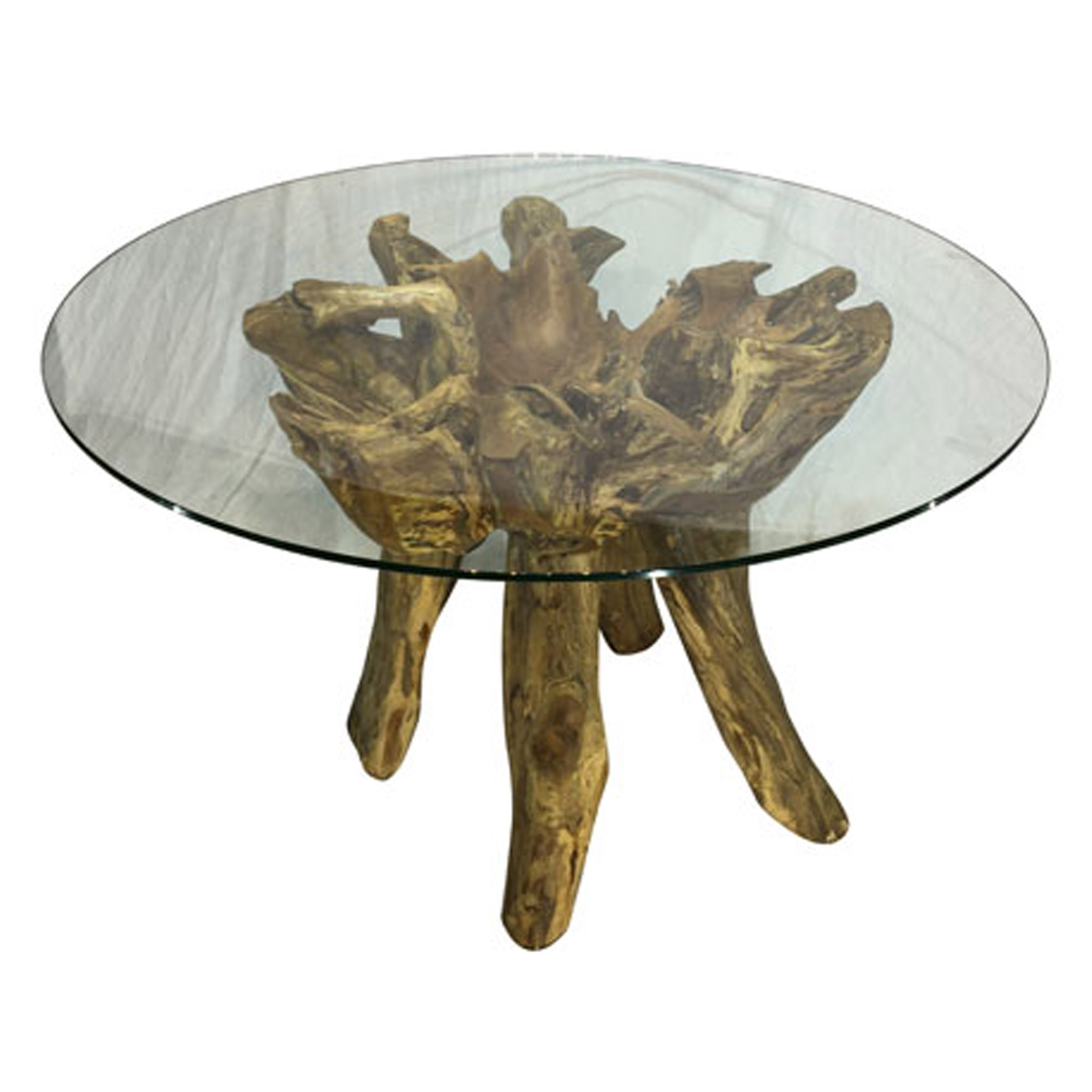 Teak Root Round Glass Dining Table Small With Regard To Preferred Small Rustic Look Dining Tables (View 22 of 25)