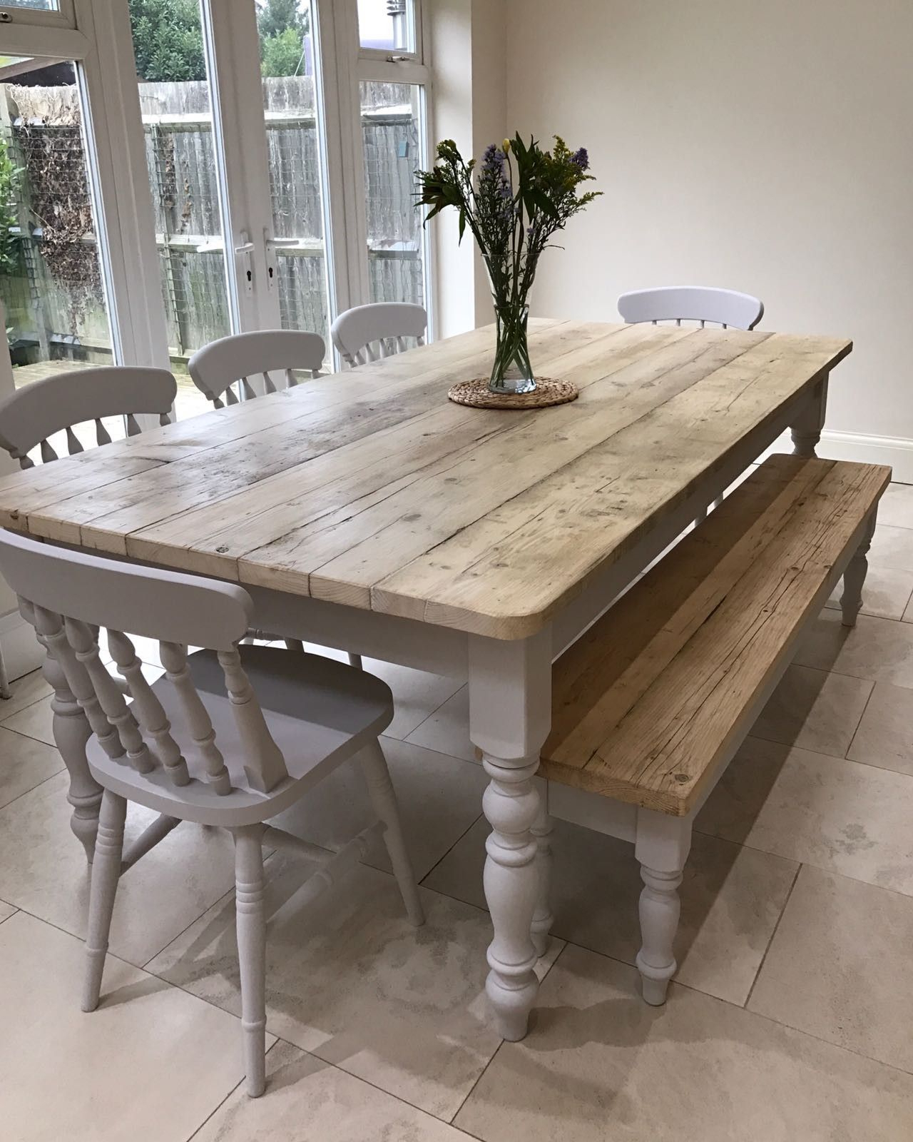 The Florence Clear' Table Made From Reclaimed Wood Throughout Well Liked Distressed Grey Finish Wood Classic Design Dining Tables (View 3 of 25)