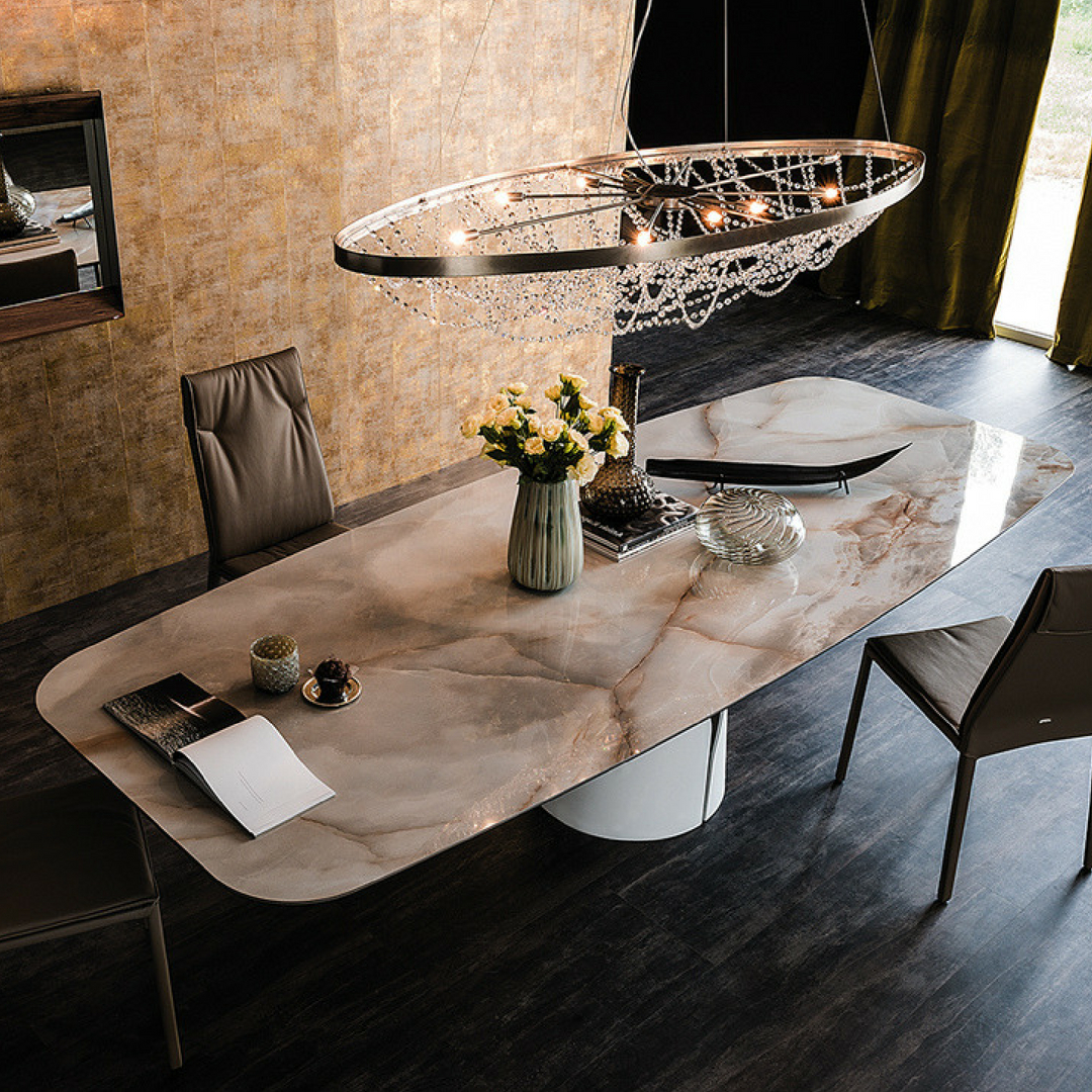 The Skorpio Ceramic Dining Table From #cattelanitalia Boasts Regarding Popular Faux Marble Finish Metal Contemporary Dining Tables (View 11 of 25)