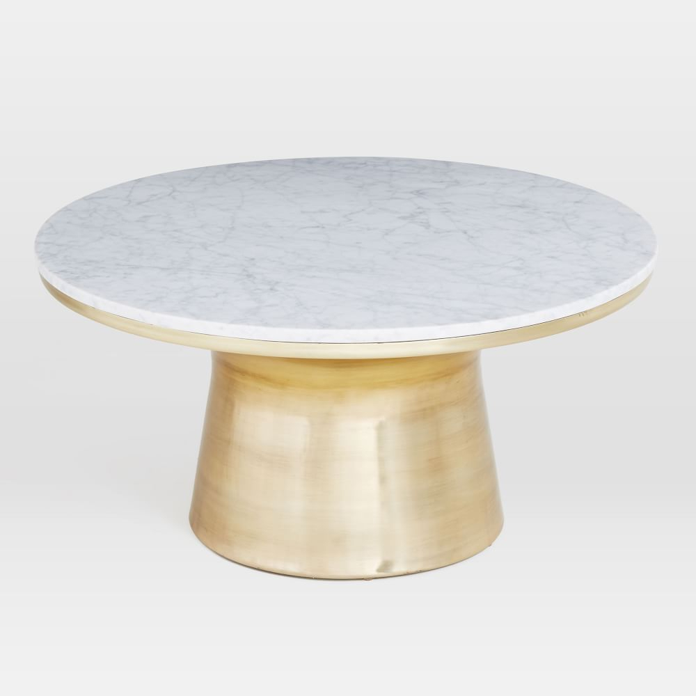 Thick White Marble Slab Dining Tables With Weathered Grey Finish In Well Known Marble Topped Pedestal Coffee Table – White Marble/antique (View 17 of 25)