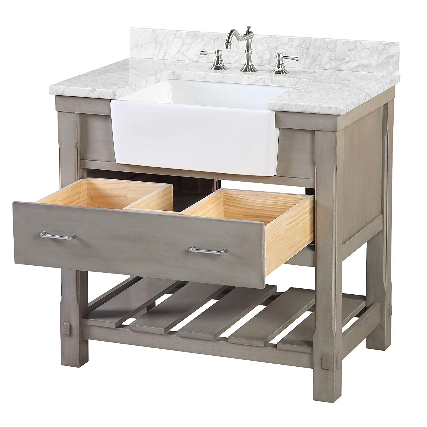 Thick White Marble Slab Dining Tables With Weathered Grey Finish Inside Newest Charlotte 36 Inch Bathroom Vanity (Carrara/weathered Gray): Includes A  Carrara Marble Countertop, Royal Blue Cabinet With Soft Close Drawers, And (View 11 of 25)
