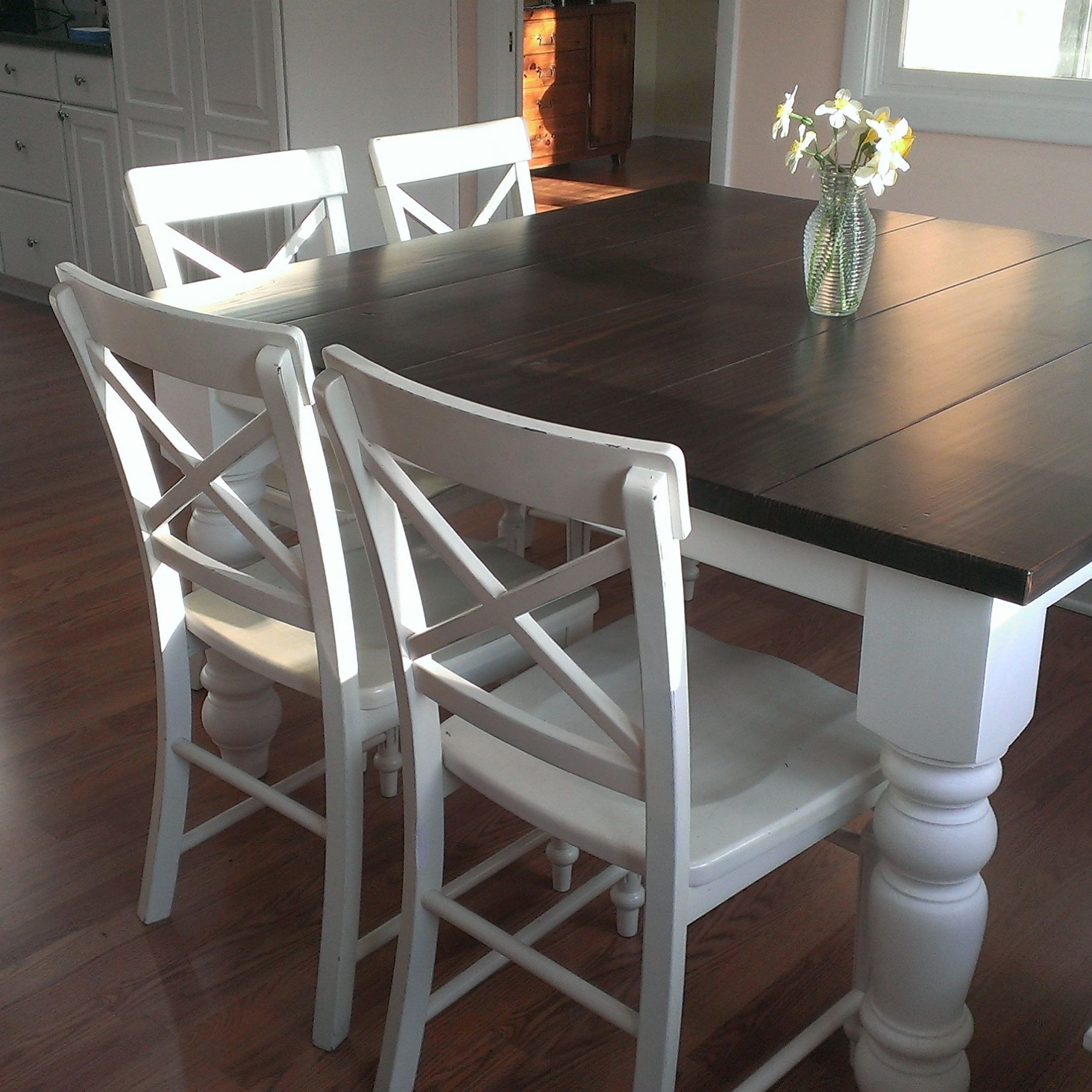 "Thick White Marble Slab Dining Tables With Weathered Grey Finish Throughout Most Current This 55"" Square Baluster James+James Table Has Been (View 9 of 25)"