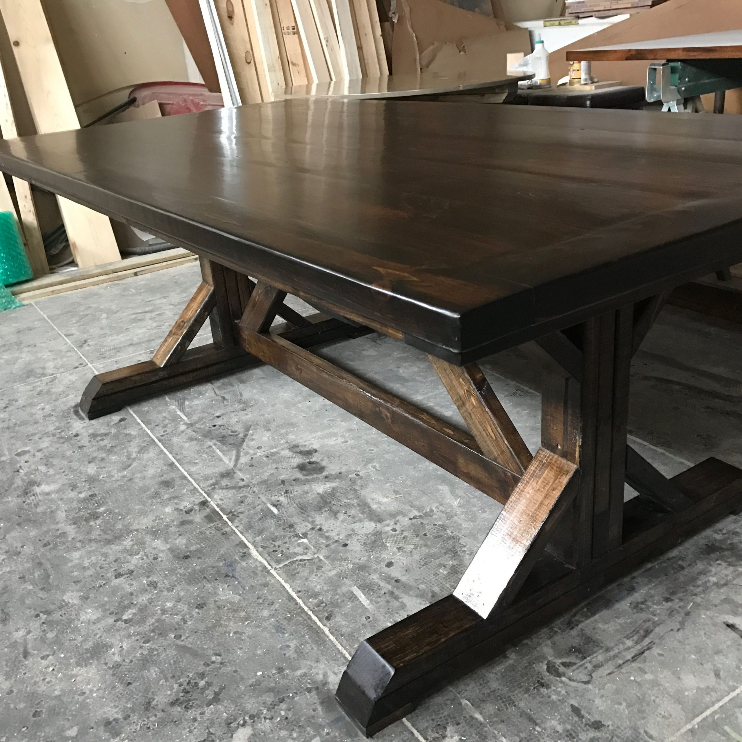 Thick White Marble Slab Dining Tables With Weathered Grey Finish With Regard To Popular Farm Trestle Table Done In Dark Browns With A Satin Finish (View 5 of 25)
