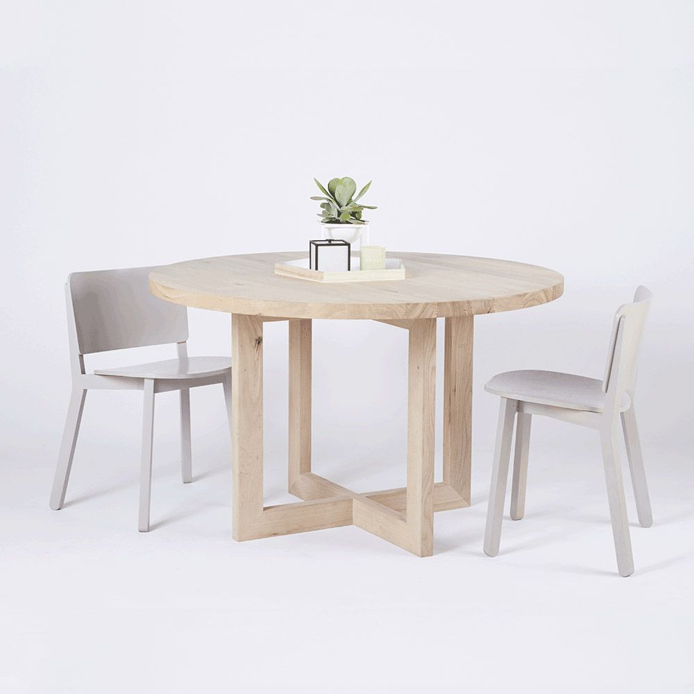 This Modern Designer Bondi Round Oak Dining Table Is Crafted With Regard To Current Solid Wood Circular Dining Tables White (View 7 of 25)