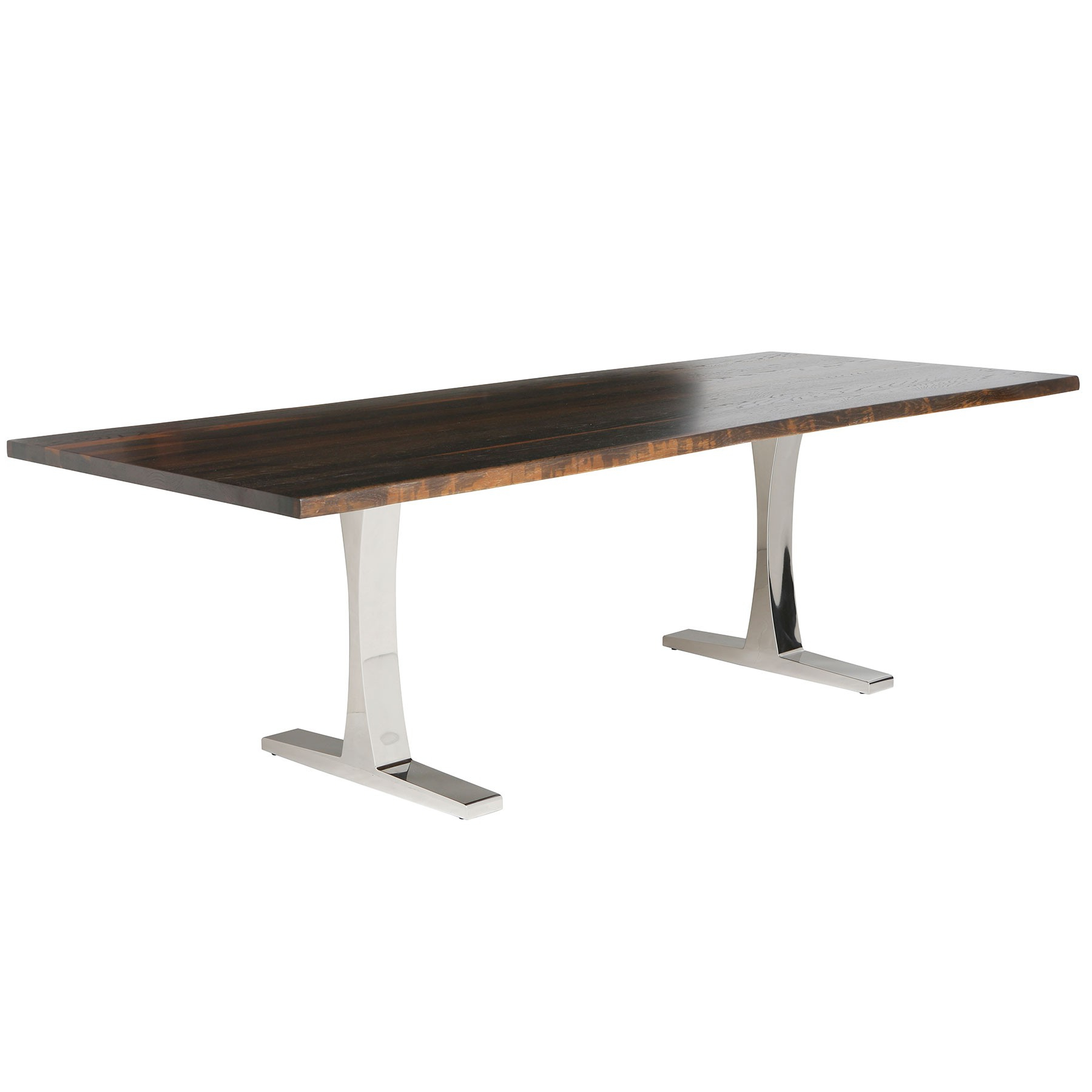 Toulouse Dining Table – Seared Oak / Stainless Pertaining To Best And Newest Dining Tables In Seared Oak (View 2 of 25)