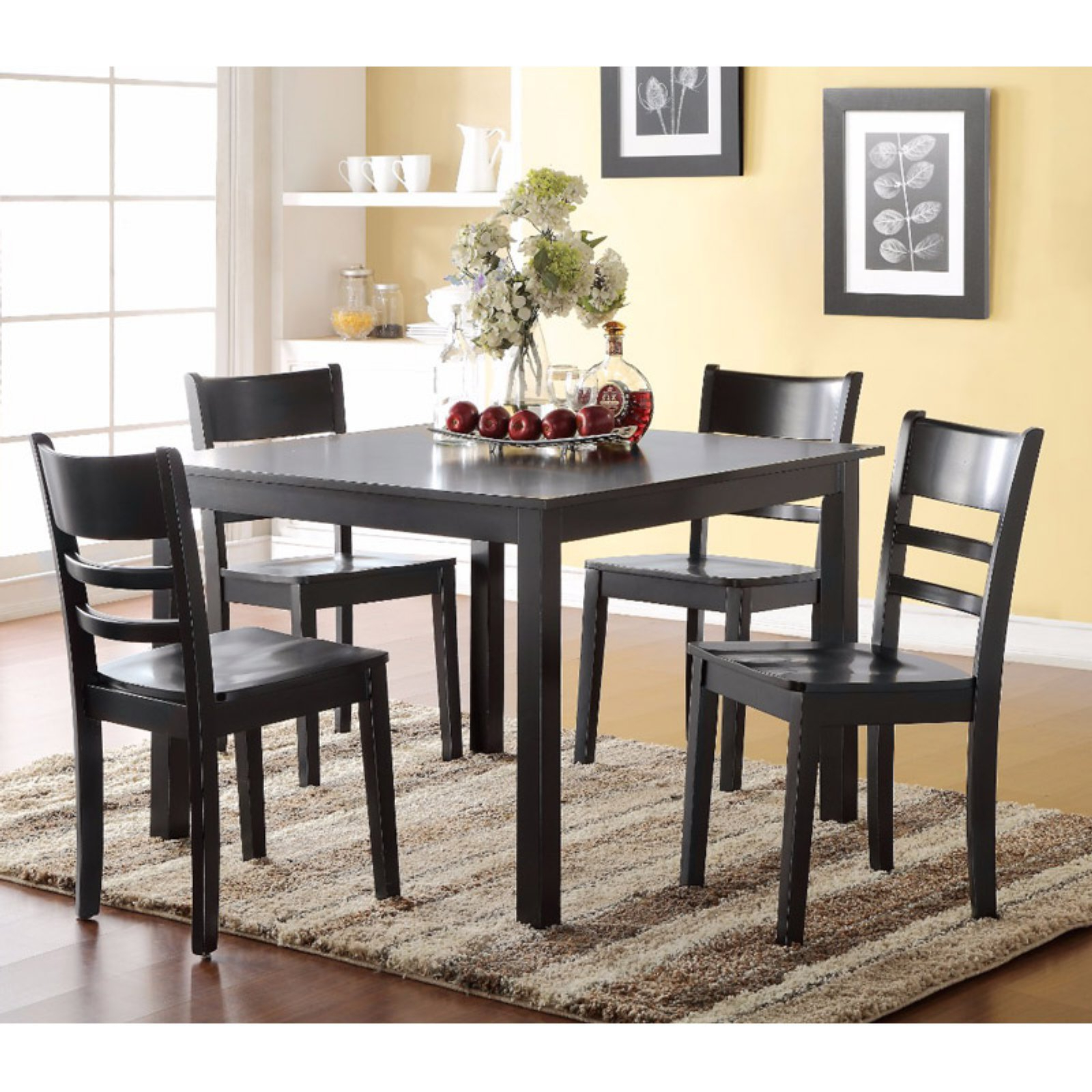 Transitional 4 Seating Double Drop Leaf Casual Dining Tables Within Well Liked Benzara Gracious 5 Piece Square Dining Table Set In  (View 9 of 25)