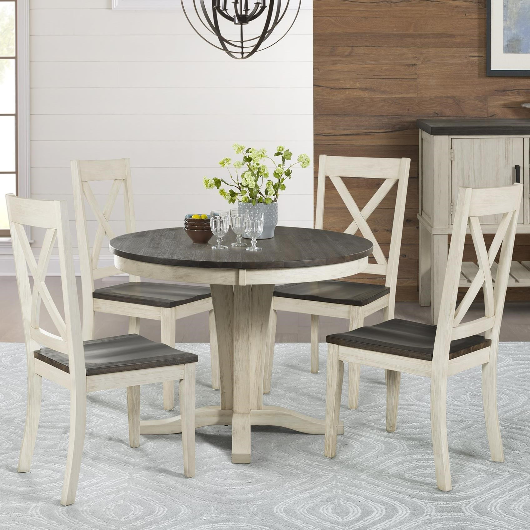 Transitional 4 Seating Drop Leaf Casual Dining Tables Inside Favorite Aamerica Huron 5 Piece Pedestal Table And X Back Chair Set (View 19 of 25)