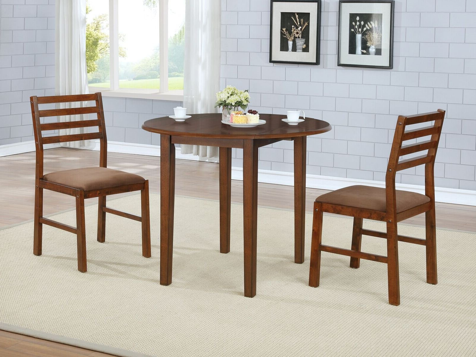 Transitional 4 Seating Drop Leaf Casual Dining Tables Intended For Fashionable Winston Porter Broughton 3 Piece Drop Leaf Solid Wood Dining (View 8 of 25)