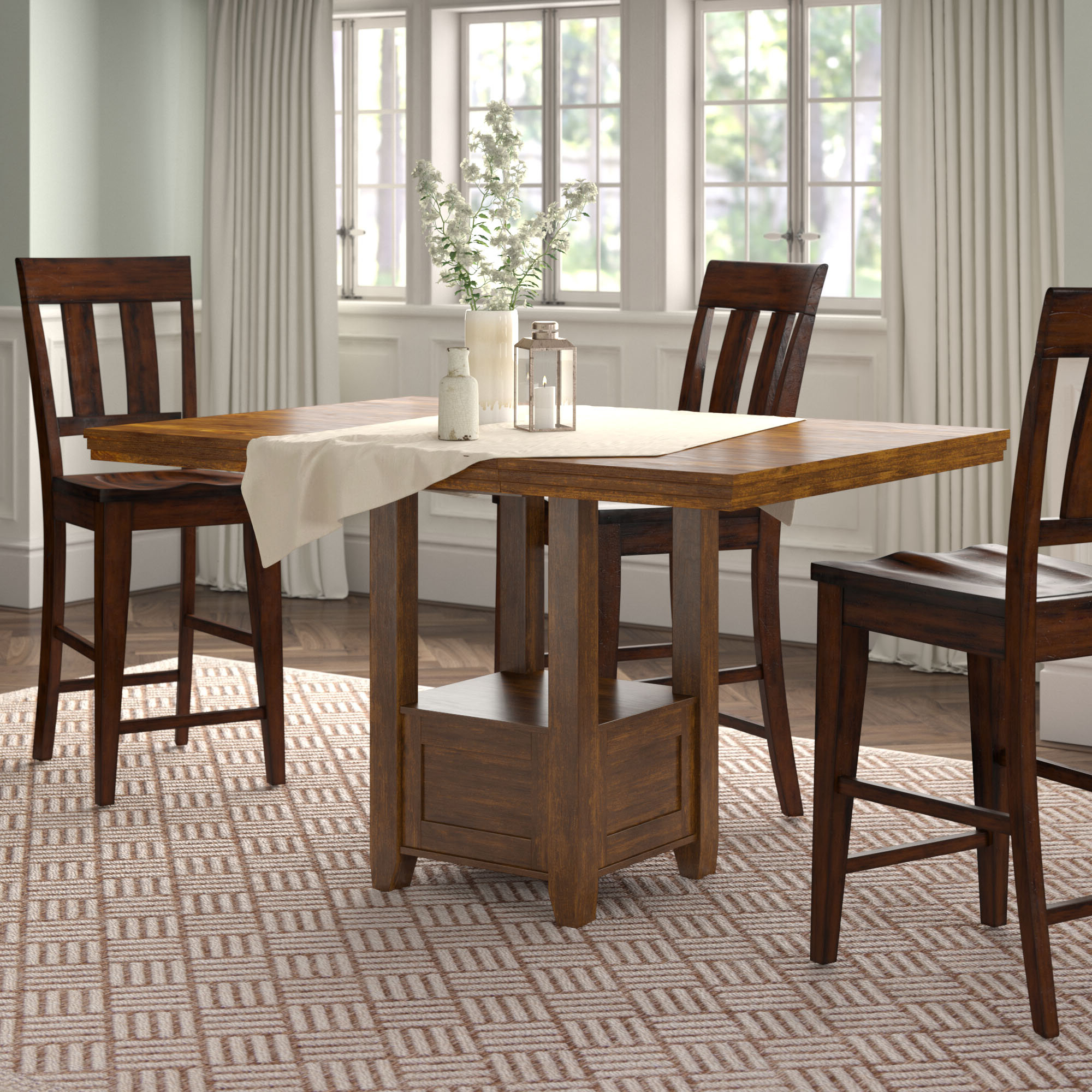 Transitional 4 Seating Square Casual Dining Tables Intended For Well Liked Andover Mills Rebecca Counter Height Extendable Dining Table (View 20 of 25)