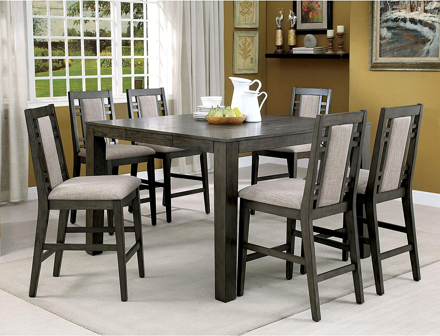 Transitional 4 Seating Square Casual Dining Tables Throughout Most Current Amazon: Rustic Weathered Grey 7 Piece Counter Height (View 21 of 25)