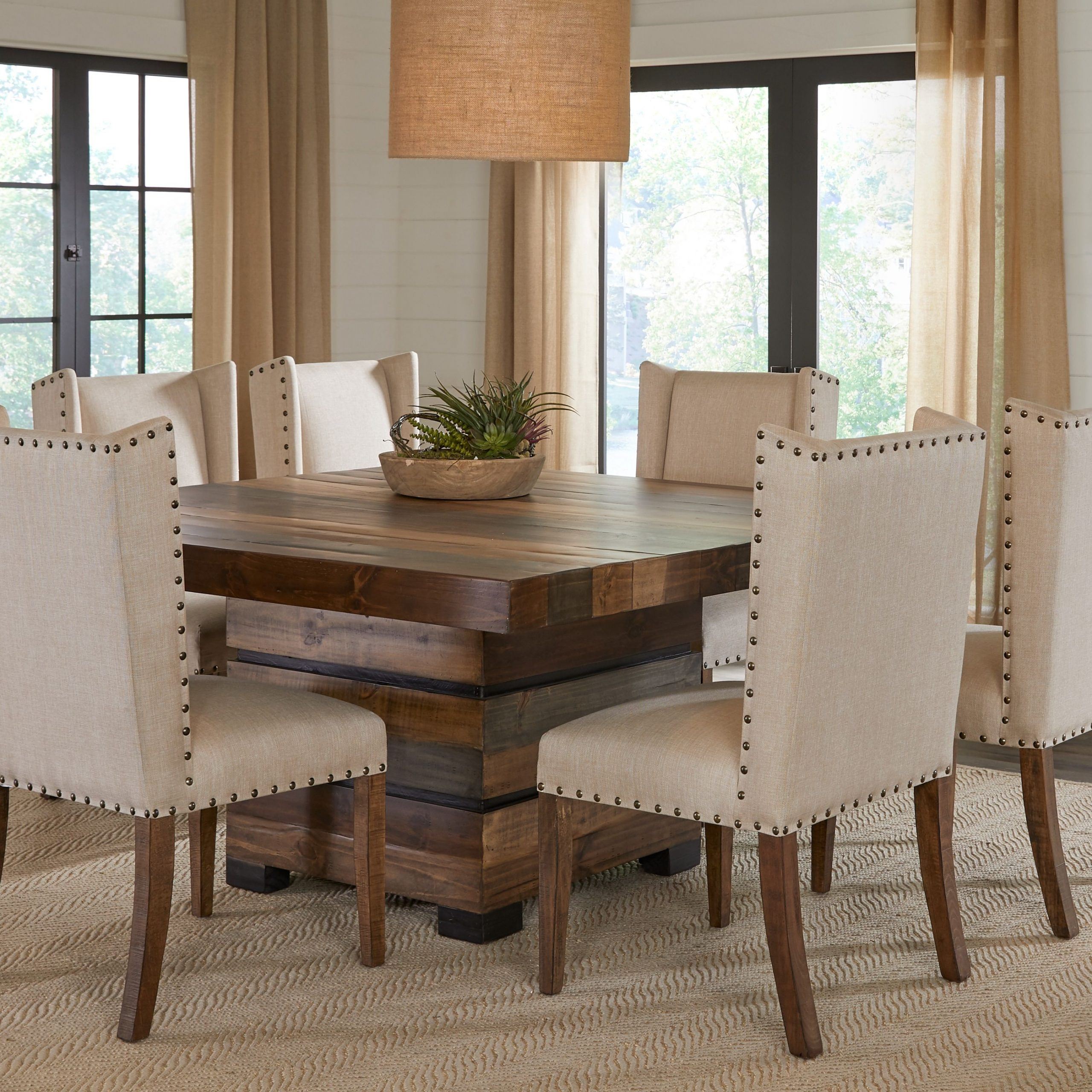 Transitional Antique Walnut Square Casual Dining Tables For 2020 Cindy Crawford Home Westover Hills Brown 5 Pc Square Dining (View 10 of 25)