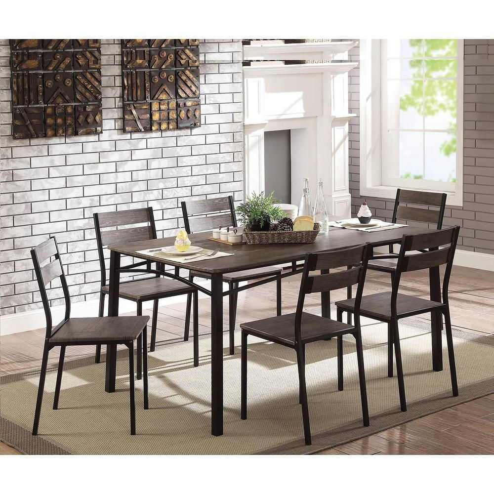 Transitional Antique Walnut Square Casual Dining Tables In Most Current William's Home Furnishing Wesport 7 Piece Transitional Style (View 25 of 25)