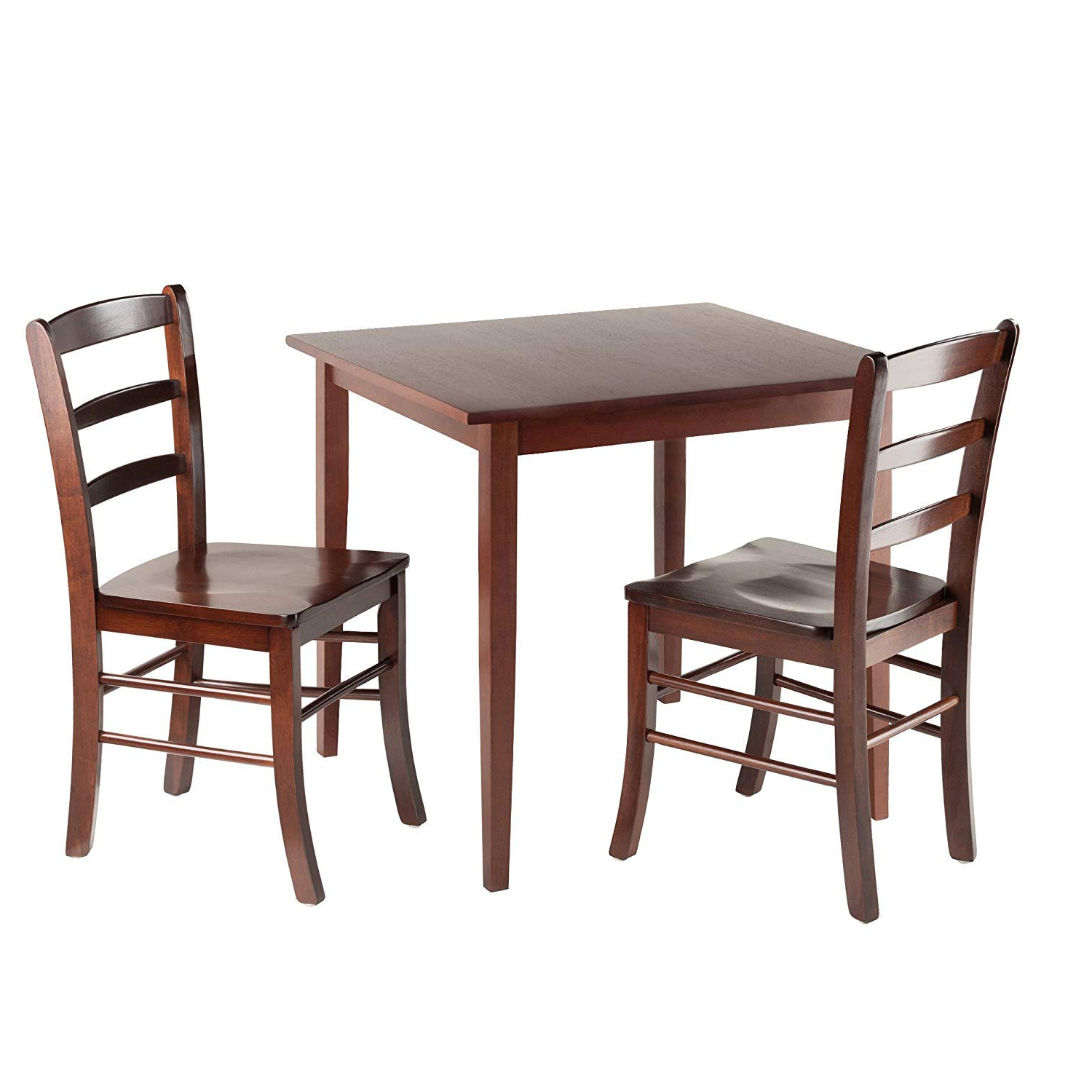 Transitional Antique Walnut Square Casual Dining Tables Intended For Famous Winsome Wood Groveland 3Pc Square Dining Table With 2 Chairs (View 16 of 25)