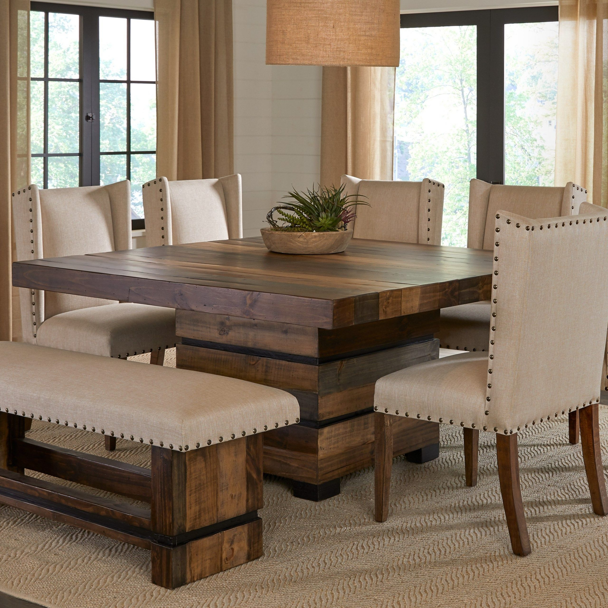 Transitional Antique Walnut Square Casual Dining Tables Pertaining To Most Recent Cindy Crawford Home Westover Hills Brown 8 Pc Square Dining (View 19 of 25)
