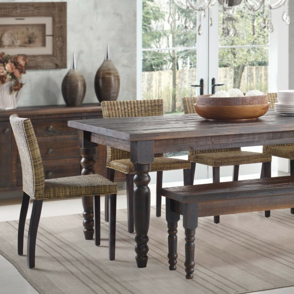 Transitional Driftwood Casual Dining Tables Intended For Recent Dining Table Grain Wood 63In Solid Wood Casual Traditional Transitional  Vintage (View 5 of 25)