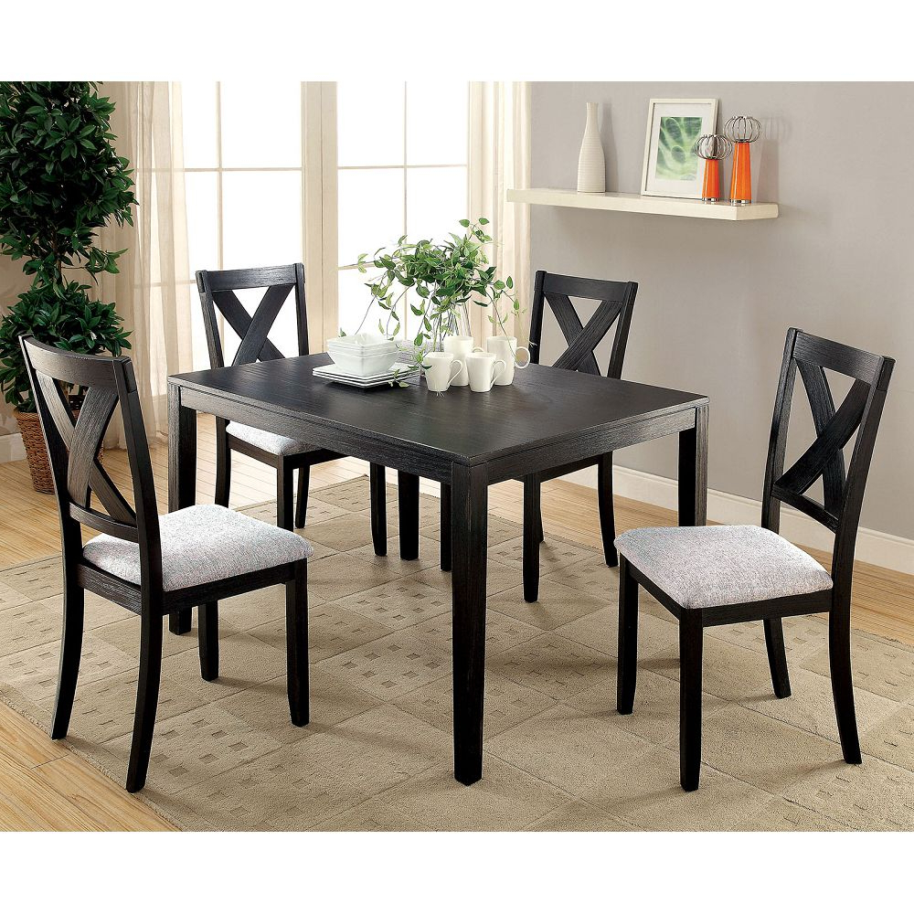 Transitional Rectangular Dining Tables In Most Up To Date Glenham Transitional 5 Pc (View 19 of 21)