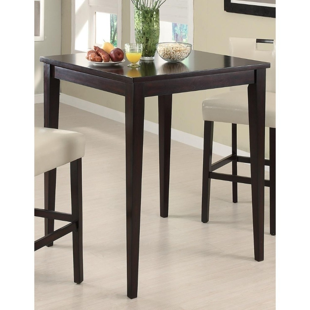Transitional Style Wooden Square Bar Table, Cappuccino Brown In Widely Used Bistro Transitional 4 Seating Square Dining Tables (View 7 of 24)