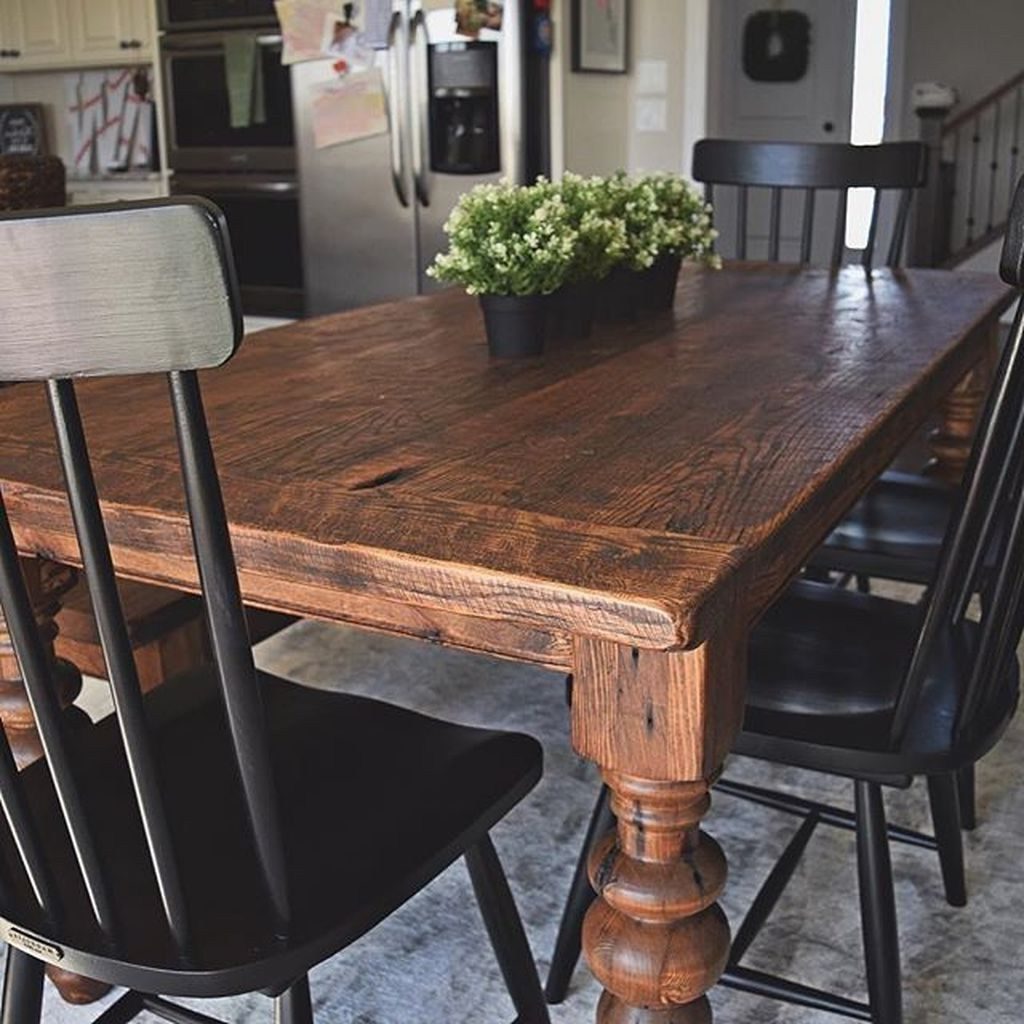 Trendy Antique Black Wood Kitchen Dining Tables Regarding 38 Beautiful Farmhouse Tables Ideas Match For Any House (View 8 of 25)