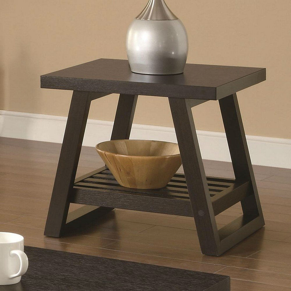 Trendy Cappuccino Finish Wood Classic Casual Dining Tables Throughout Modern End Table In Dark Brown Cappuccino Finish (View 15 of 25)