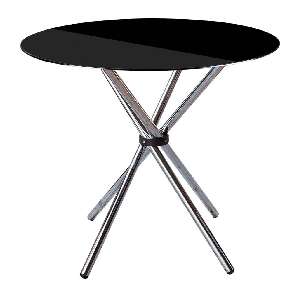 Trendy Clanbay Dining Table, Chrome, Tempered Glass, Black Inside Chrome Dining Tables With Tempered Glass (View 6 of 25)
