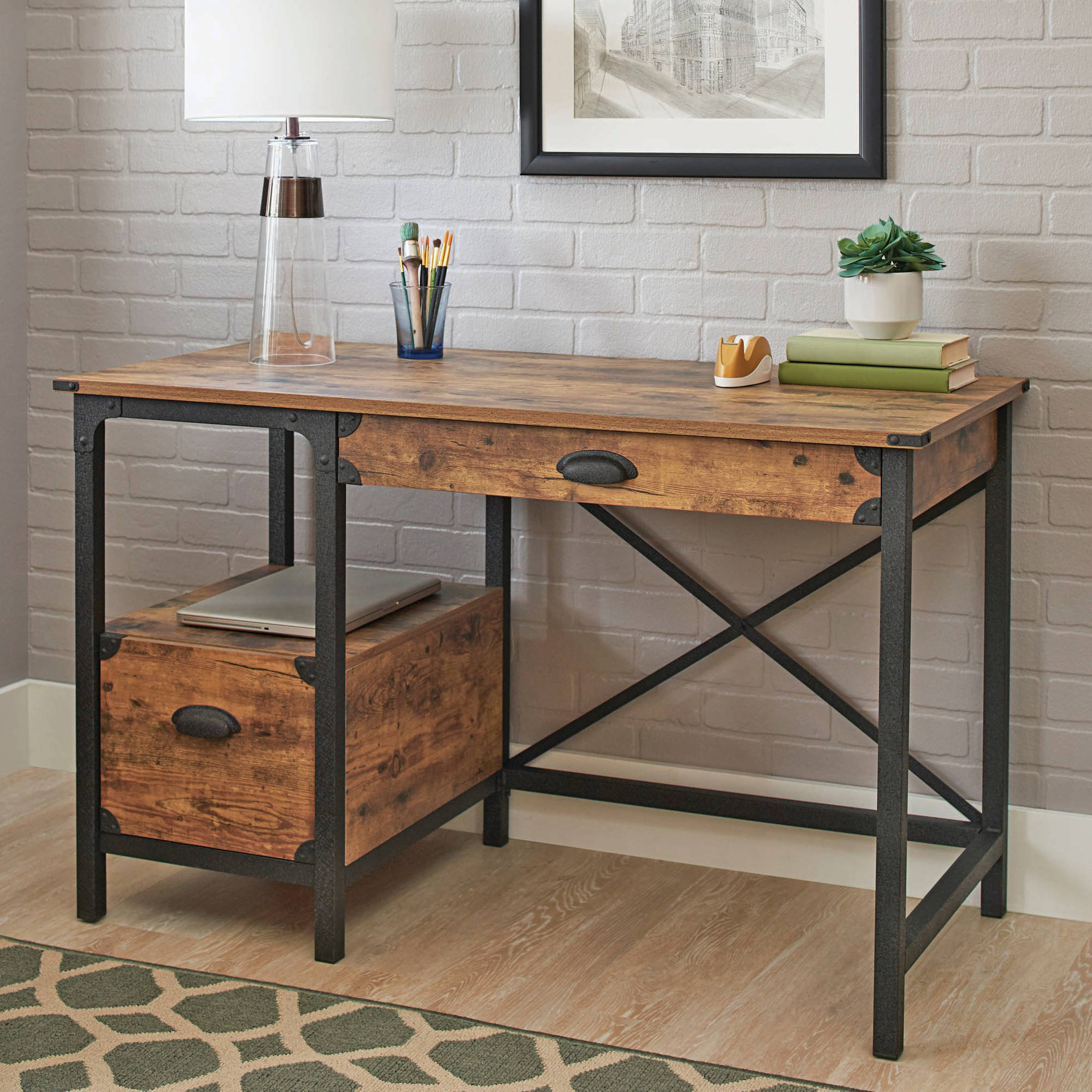 Trendy Country Dining Tables With Weathered Pine Finish Regarding Better Homes & Gardens Rustic Country Desk, Weathered Pine (View 18 of 25)