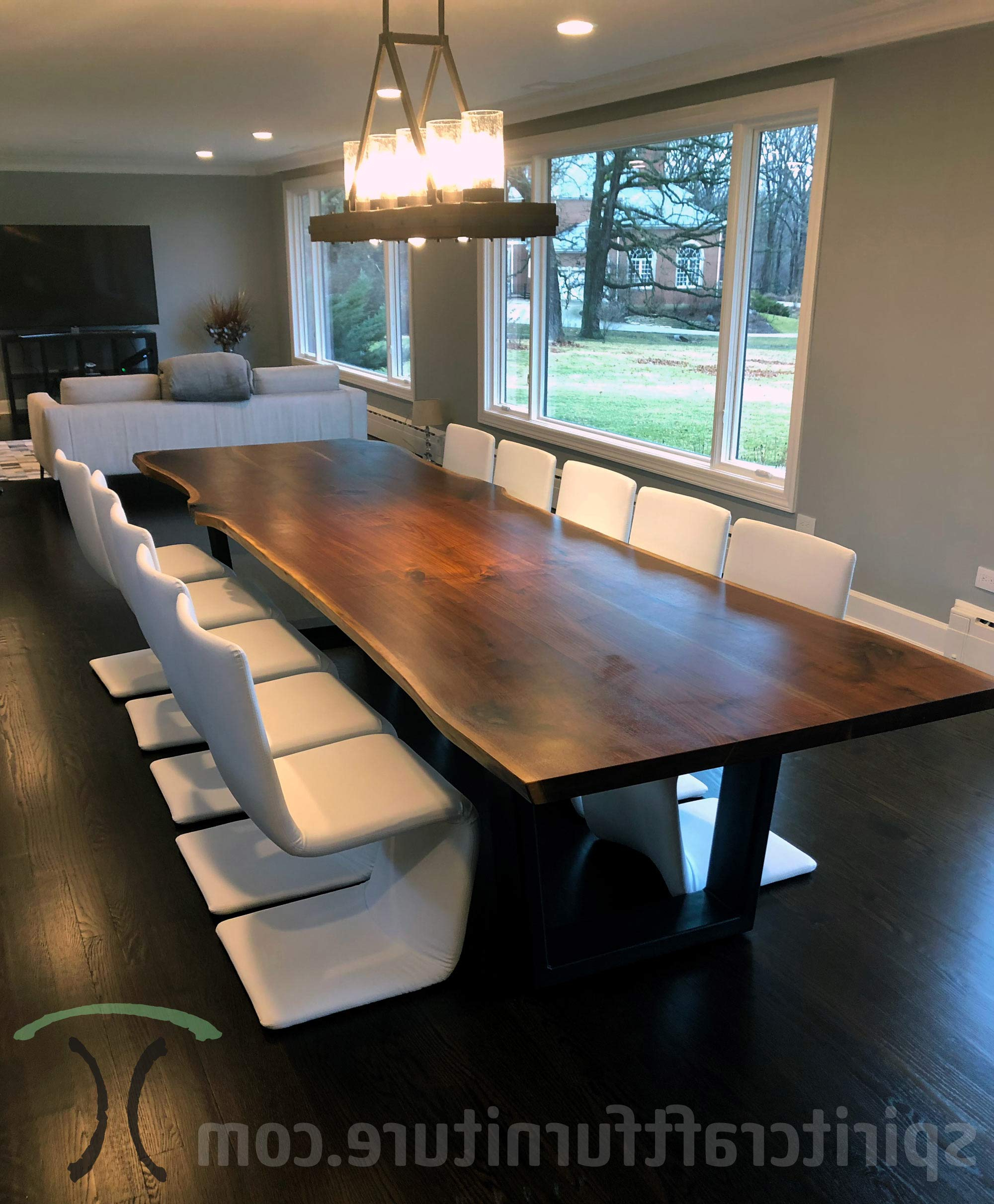 Trendy Custom Solid Wood And Live Edge Dining Conference Tables Intended For Walnut Finish Live Edge Wood Contemporary Dining Tables (View 24 of 25)
