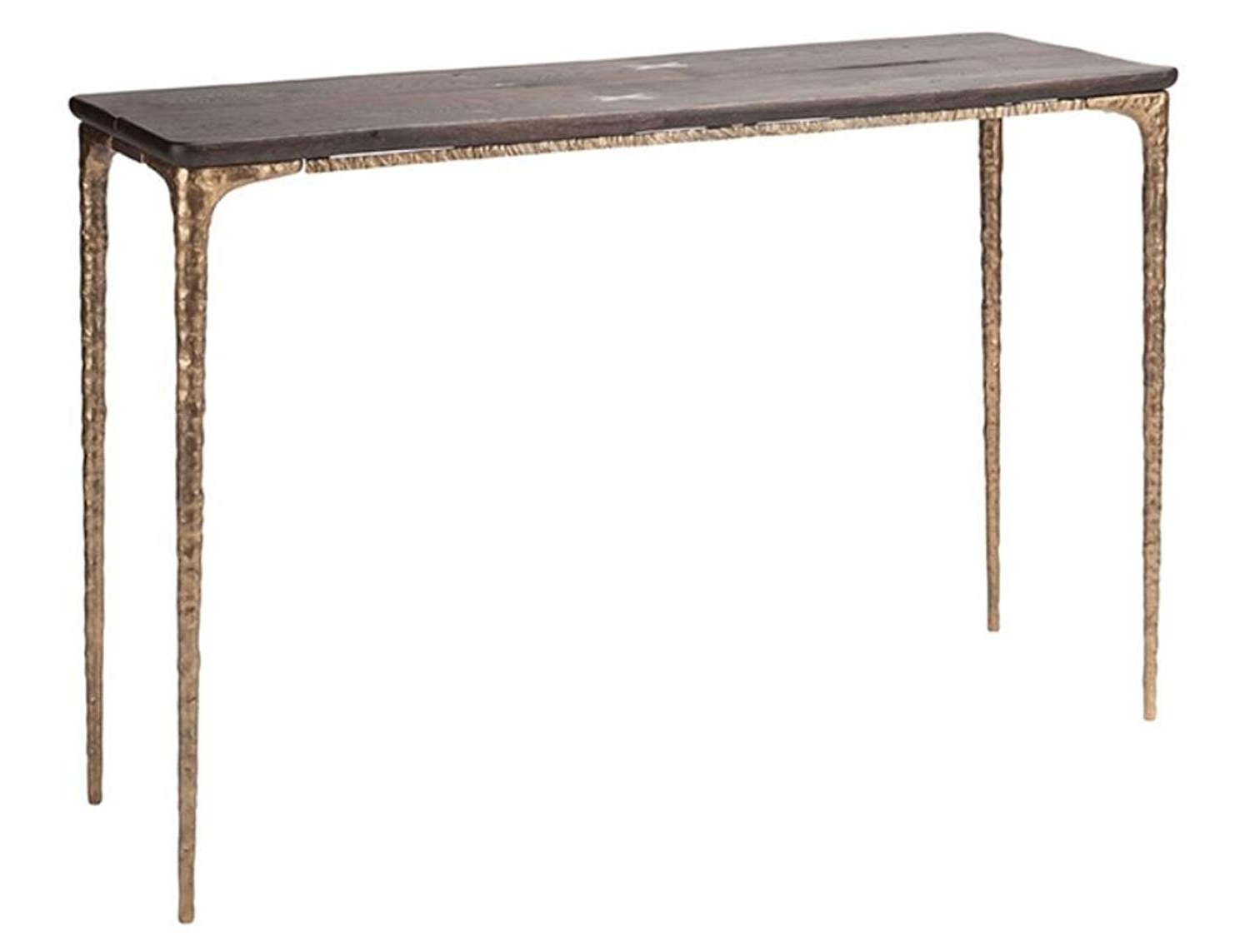 Trendy Dining Tables In Seared Oak With Brass Detail With Regard To Amazon: Kulu Console In Seared Oak And Bronze Legs (View 21 of 25)