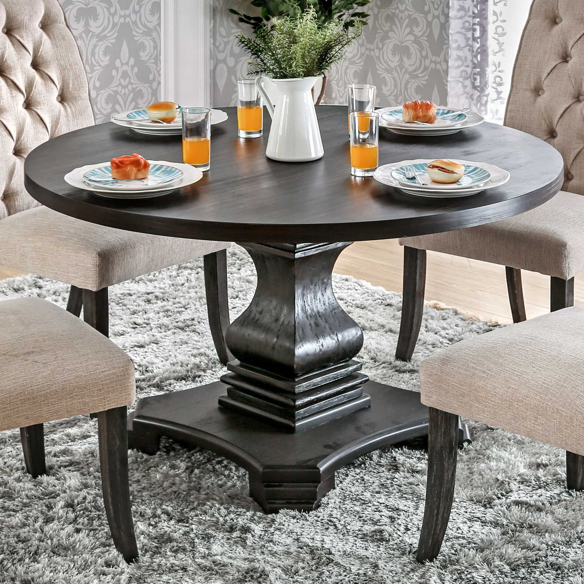 Trendy Furniture Of America Lucena Traditional Farmhouse Style For Antique Black Wood Kitchen Dining Tables (View 16 of 25)