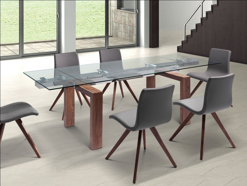 Trendy Lucia Walnut & Glass Extendable Modern Rectangular Dining Table For Contemporary Rectangular Dining Tables (View 15 of 25)