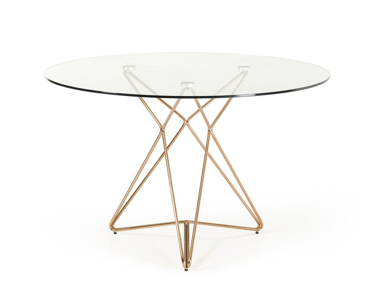 Trendy Modern Clear Round Glass Top Gold Stainless Steel Base Intended For Modern Round Glass Top Dining Tables (View 8 of 25)