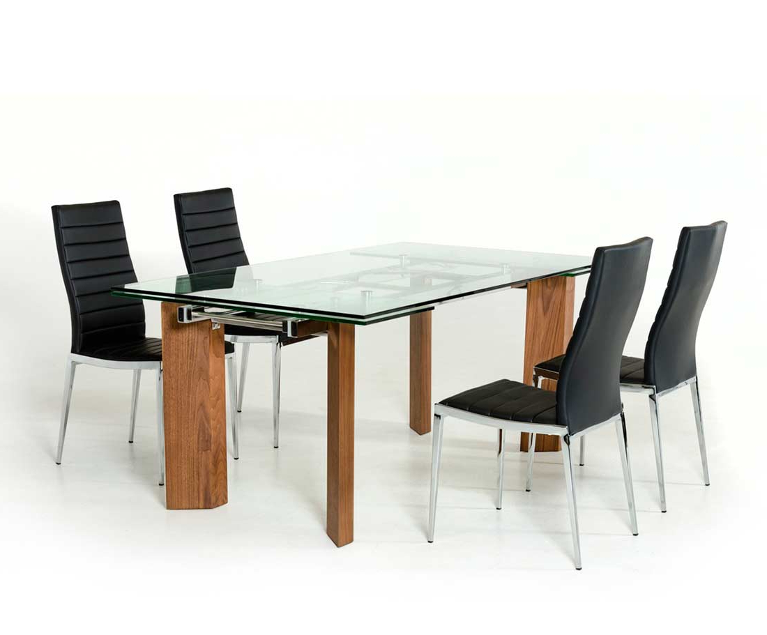 Trendy Modern Glass Top Extension Dining Tables In Stainless With Regard To Extendable Glass Top Dining Table Vg (View 10 of 25)