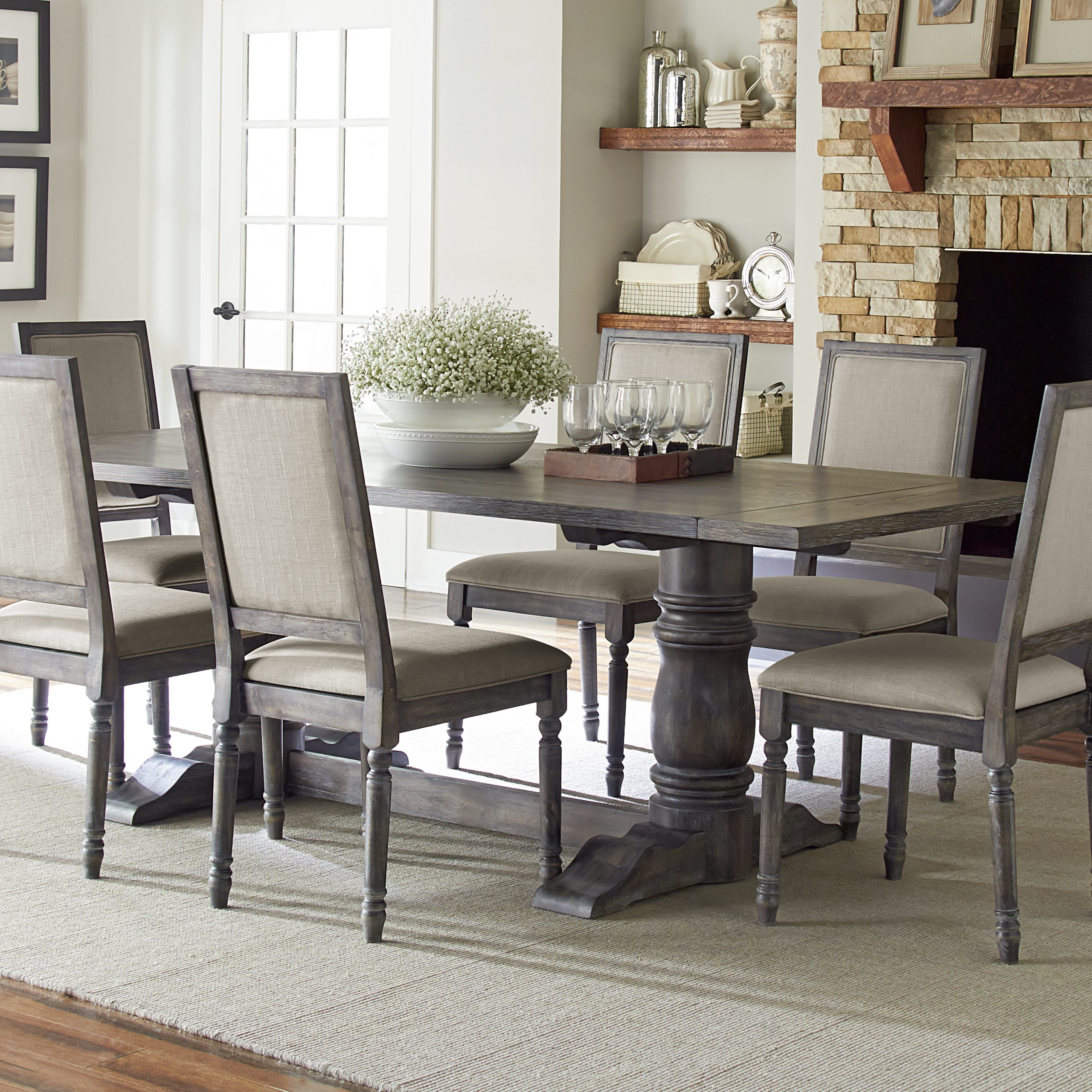 Trendy Modern Rustic Dining Table Set (View 2 of 21)