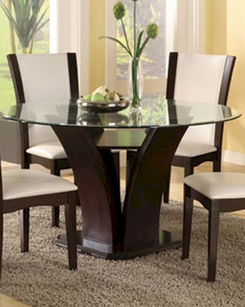 Trendy Round Glass Top Dining Table (Only) Daisy El 710 54 Inside Round Glass Top Dining Tables (View 22 of 25)