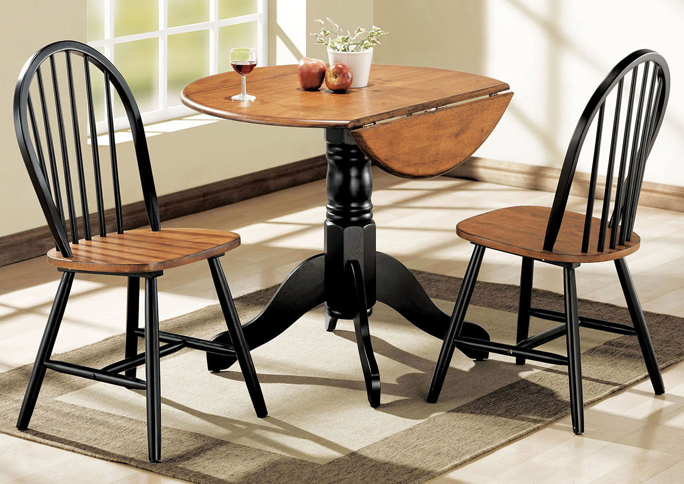 Trendy Transitional 3 Piece Drop Leaf Casual Dining Tables Set With Regard To Wine Country Furniture Mason Cherry/black Dining Set (Set Of 3) (View 21 of 25)