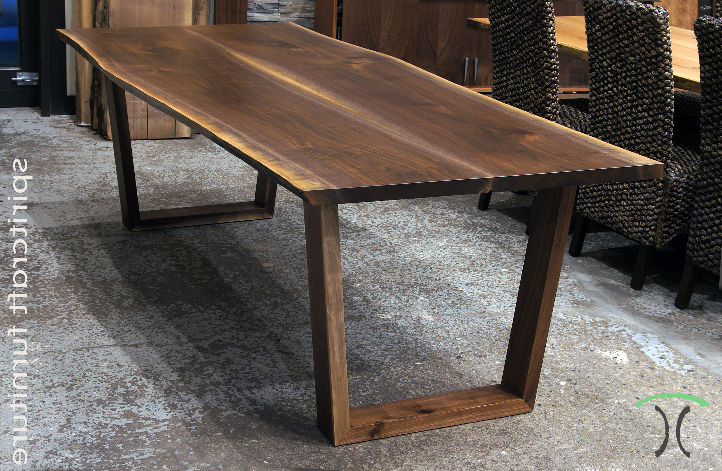 Trendy Walnut Finish Live Edge Wood Contemporary Dining Tables Intended For Live Edge Slab Dining Tables, Walnut Slabs And Tops (View 17 of 25)