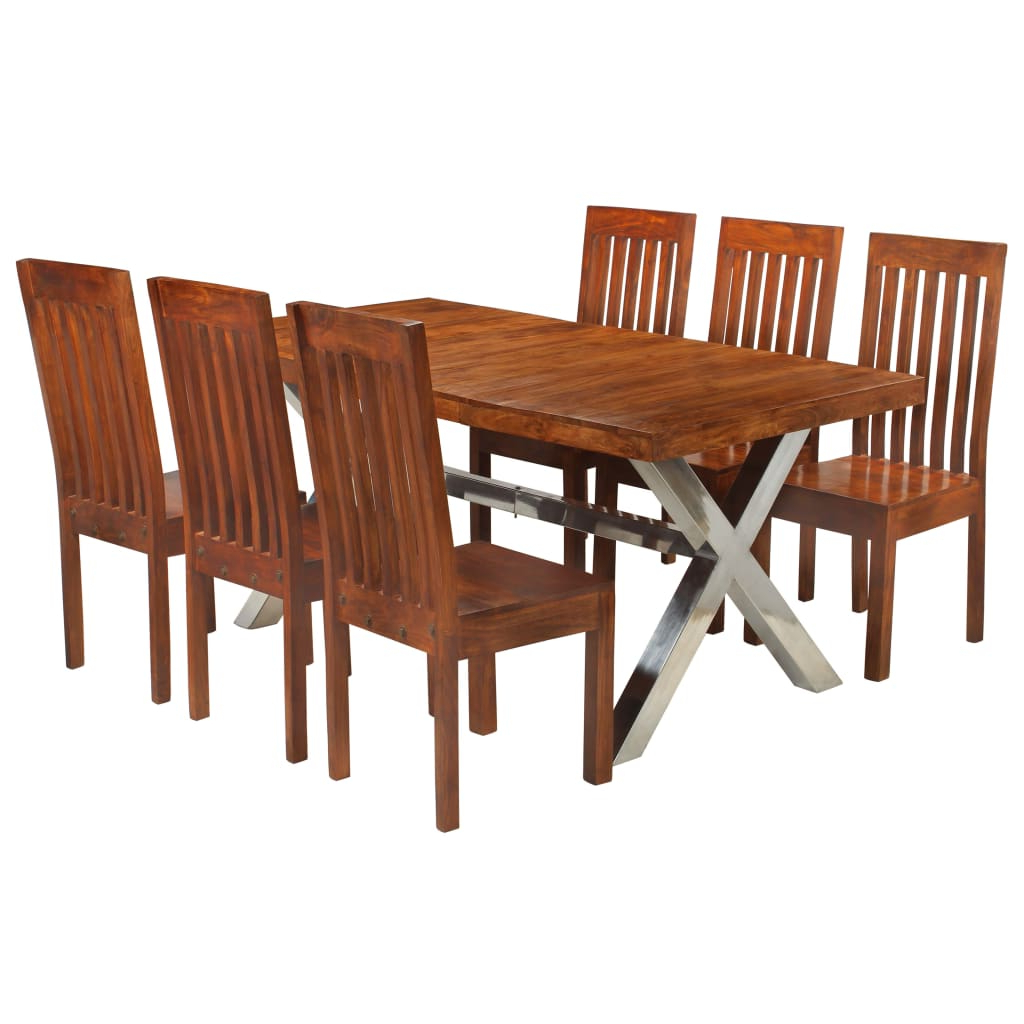 Vidaxl Dining Table Set 7 Piece Solid Acacia Wood With Sheesham Finish Within Recent Unique Acacia Wood Dining Tables (View 11 of 25)
