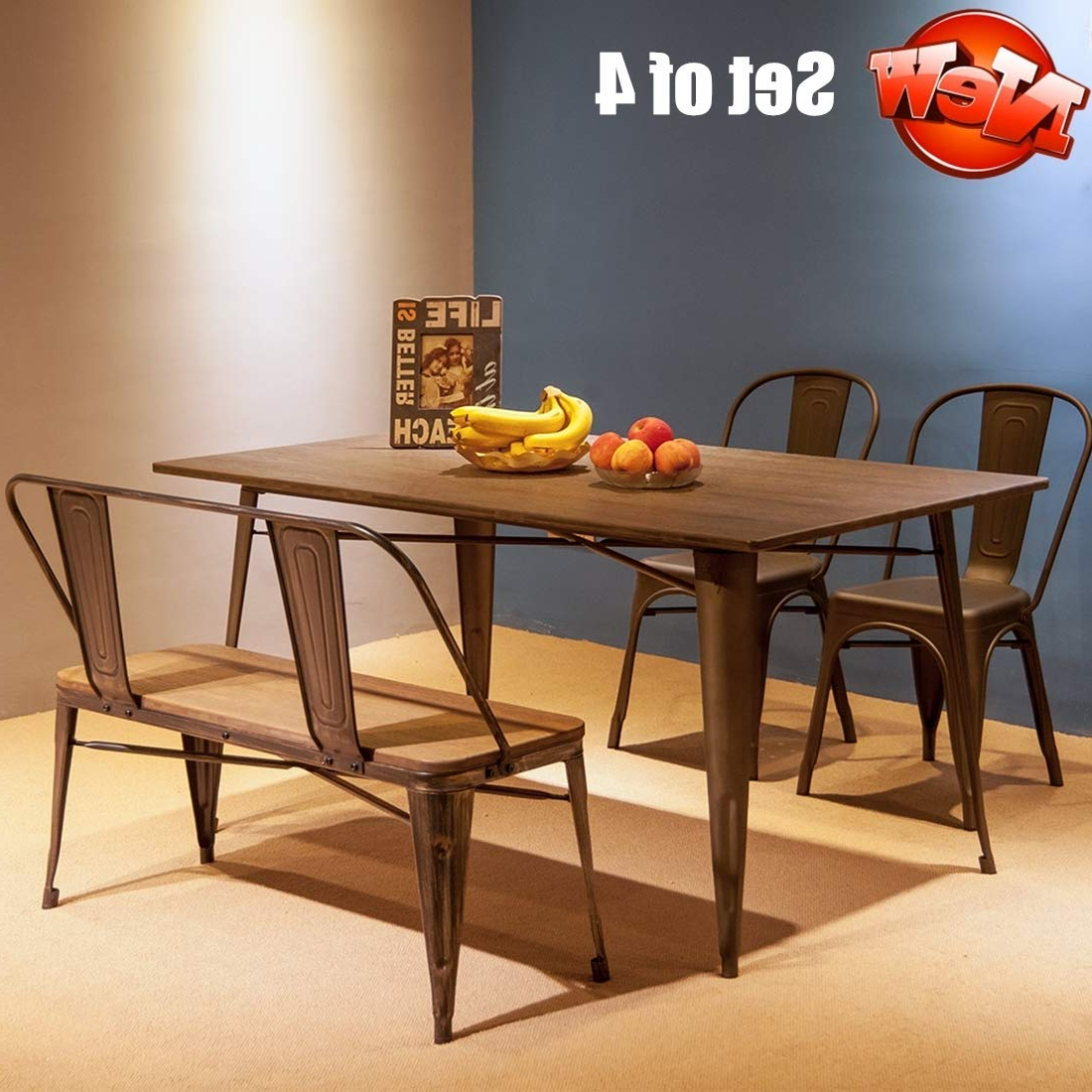 Vintage Cream Frame And Espresso Bamboo Dining Tables Pertaining To Most Up To Date Amazon – Aooppec Enhanced Retro Style 4 Piece Set Dining (View 2 of 25)