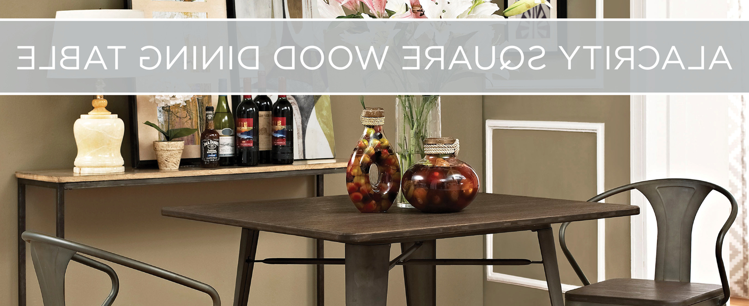 """Vintage Cream Frame And Espresso Bamboo Dining Tables With Regard To Popular Lexmod Mo Eei 2036 Brn Alacrity Rustic Modern Farmhouse Wood Square With Steel Legs, 36"""", Brown (View 10 of 25)"""