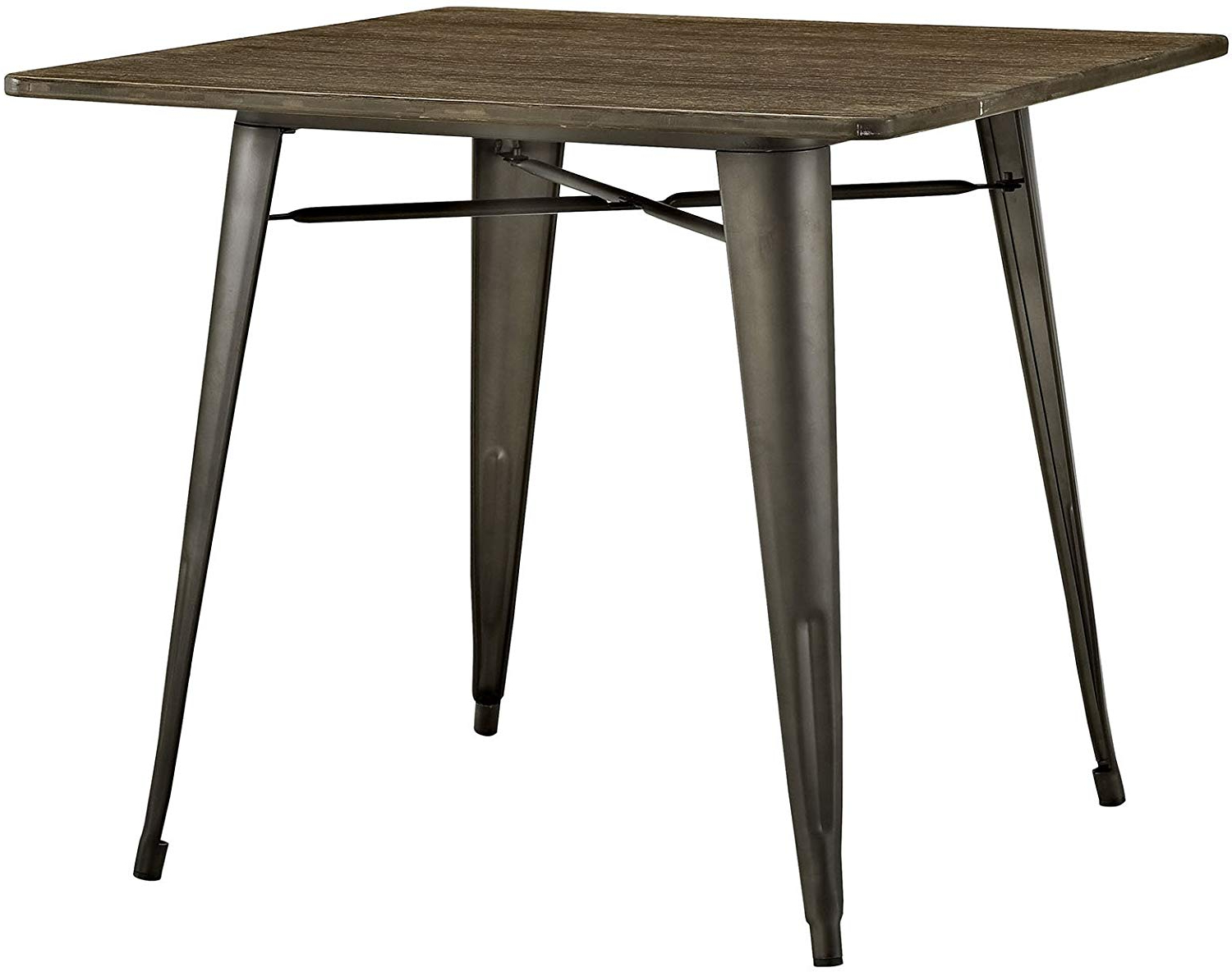 """Vintage Cream Frame And Espresso Bamboo Dining Tables Within Most Recent Lexmod Mo Eei 2036 Brn Alacrity Rustic Modern Farmhouse Wood Square With Steel Legs, 36"""", Brown (View 8 of 25)"""