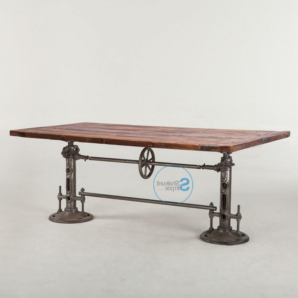 Vintage Industrial Cast Iron Double Crank Mechanism Dining inside 2020 Iron Wood Dining Tables