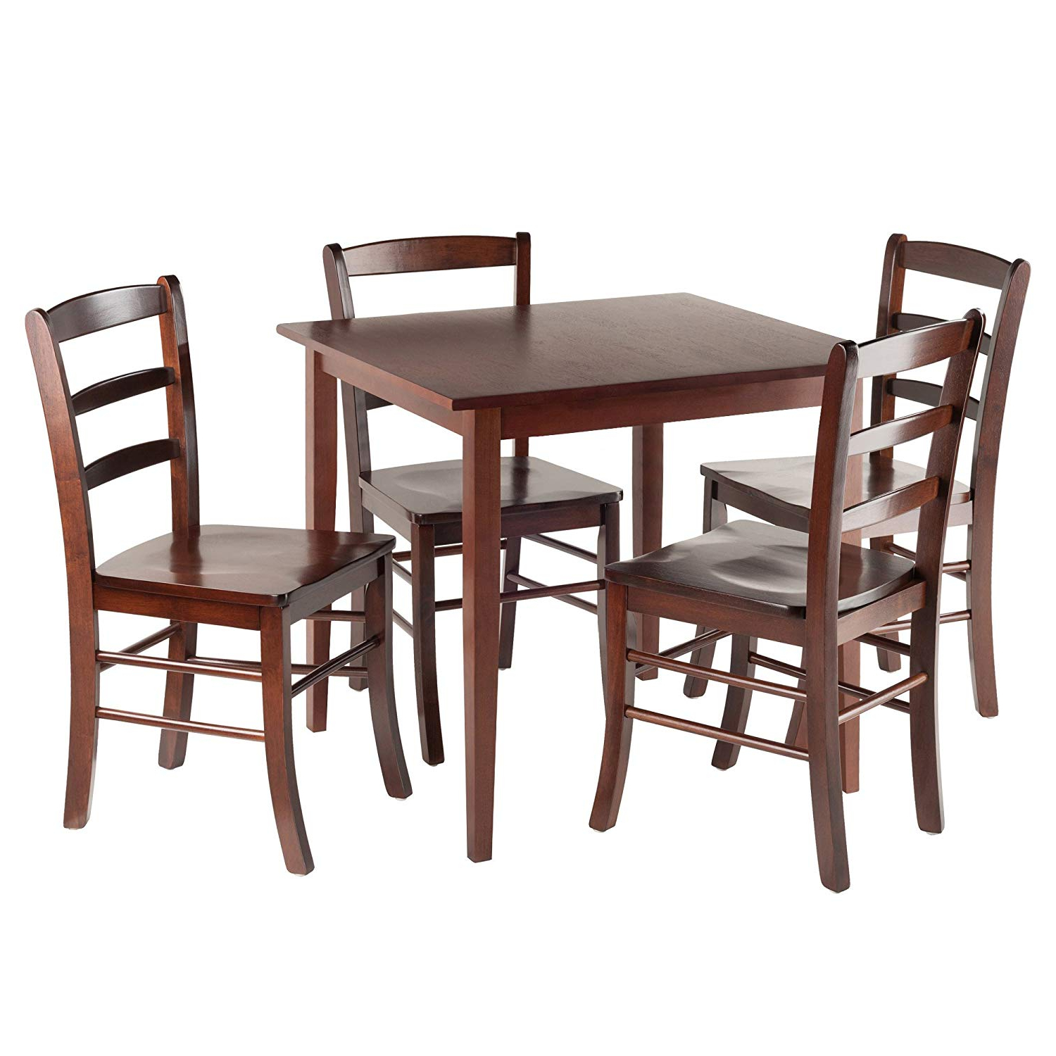 Walnut And Antique White Finish Contemporary Country Dining Tables Within Most Recent Winsome Groveland Square Dining Table, 4 Chairs, Antique Walnut (View 12 of 25)