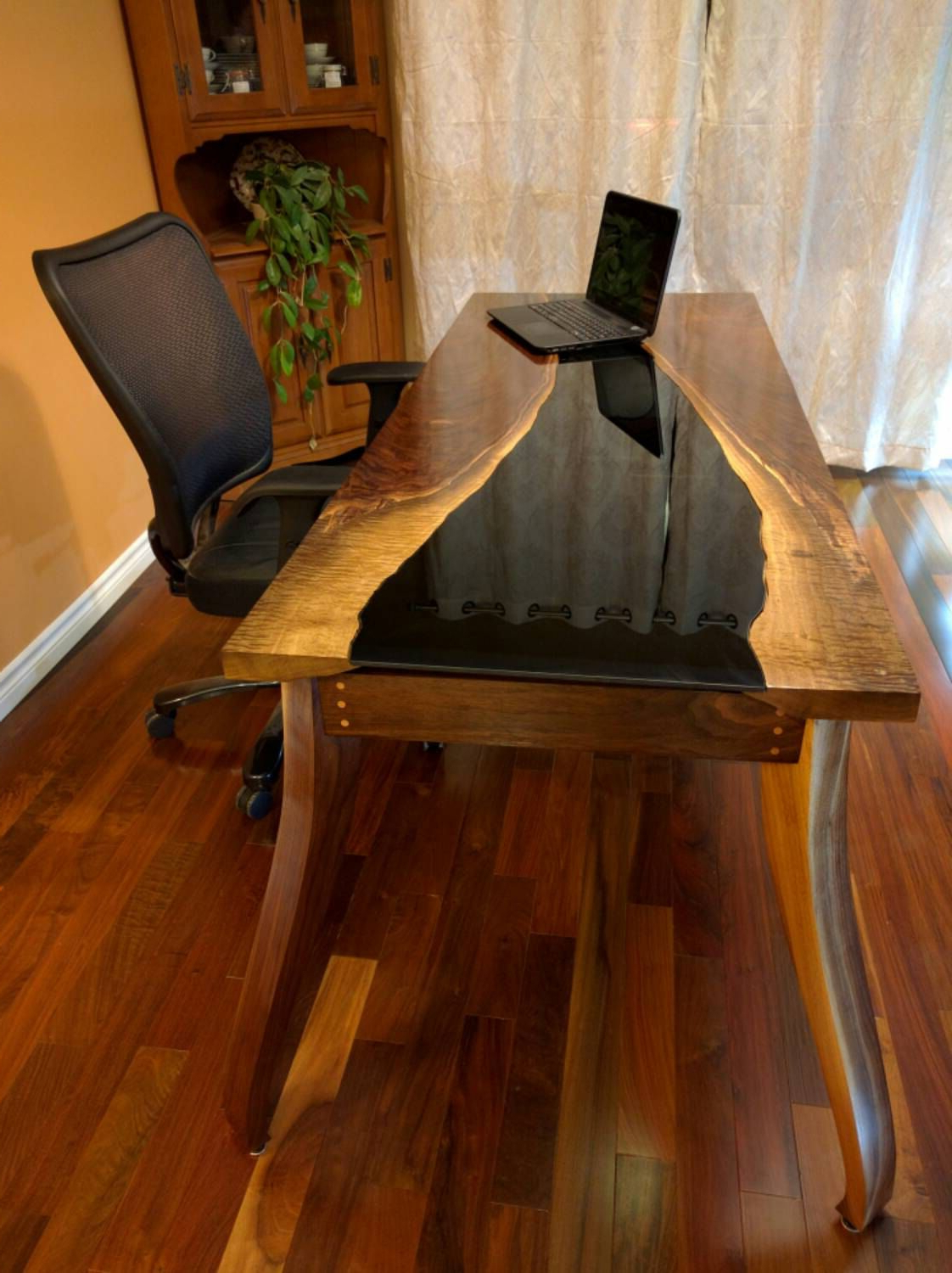 Walnut Finish Live Edge Wood Contemporary Dining Tables Intended For Popular Executive Desk Walnut Table Natural Live Edge Black Modern (View 19 of 25)