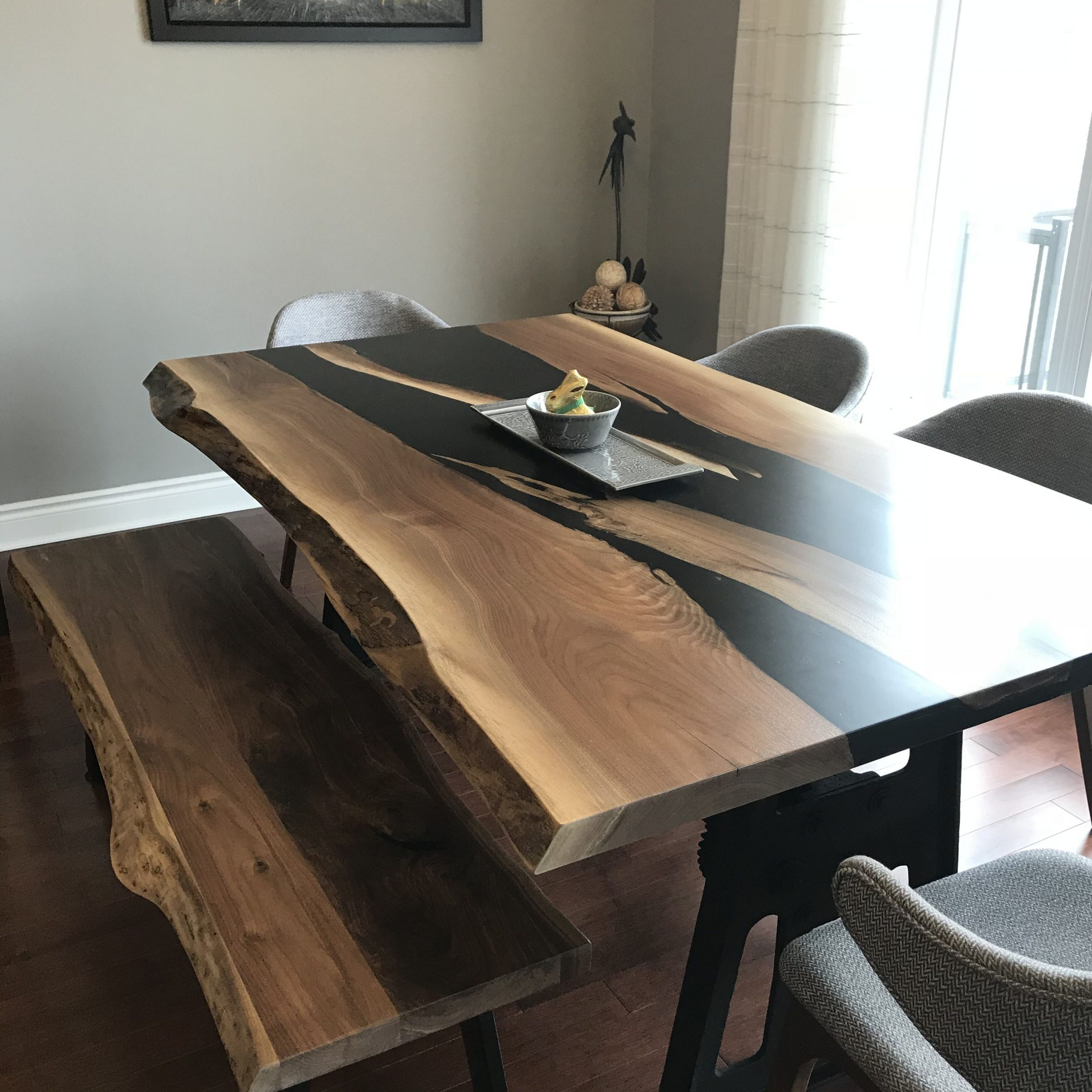 Walnut Finish Live Edge Wood Contemporary Dining Tables Throughout Preferred Live Edge Walnut Black River Resin Table With Bench (View 20 of 25)
