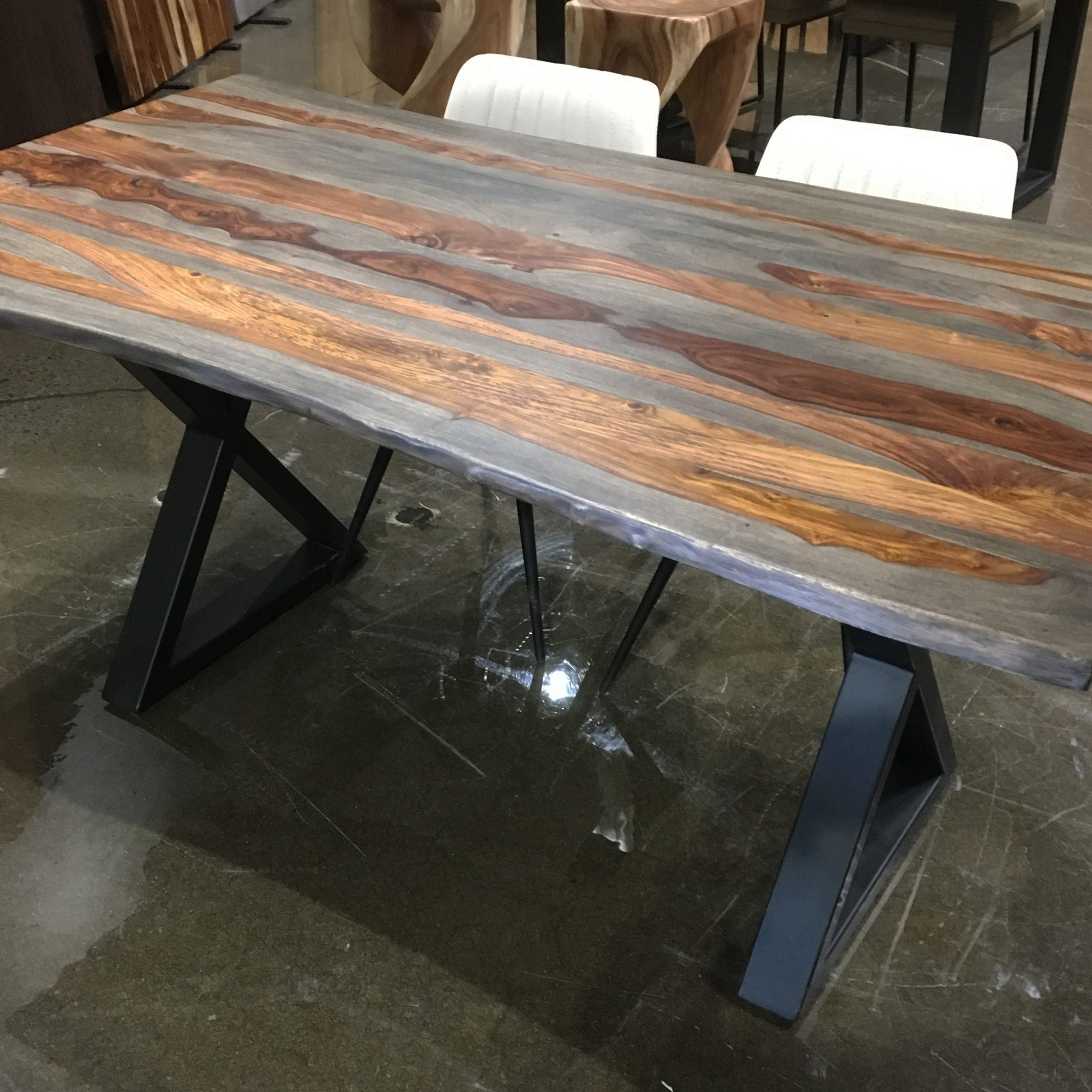 """Well Known Acacia Dining Tables With Black Rocket Legs Regarding Corcoran Acacia Live Edge Dining Table With Black Rocket Legs – 96"""" (View 18 of 25)"""
