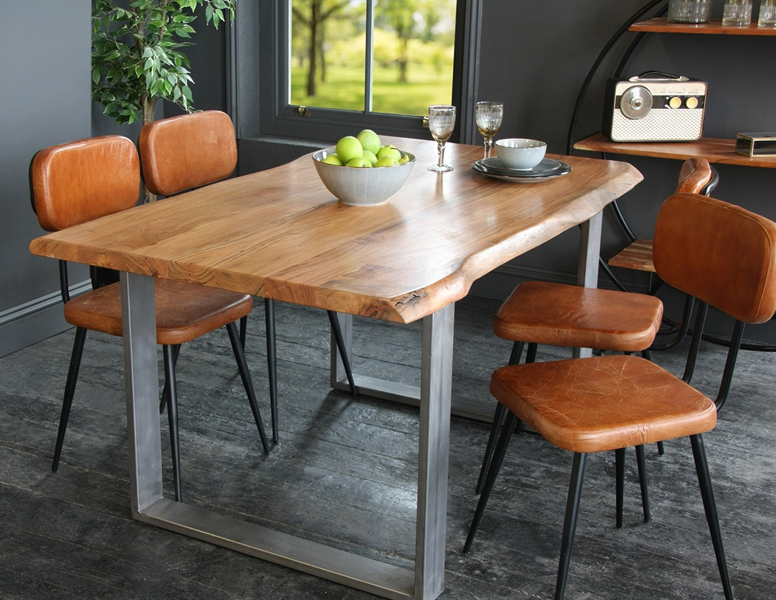 Well Known Acacia Top Dining Tables With Metal Legs Within Acacia Dining Table / Desk With Natural Edge And Steel Box Leg (View 21 of 25)