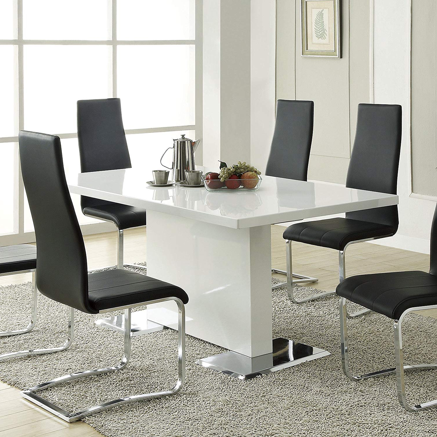 Well Known Contemporary Rectangular Dining Tables In Nameth Dining Table With Metal Base Glossy White (View 3 of 25)