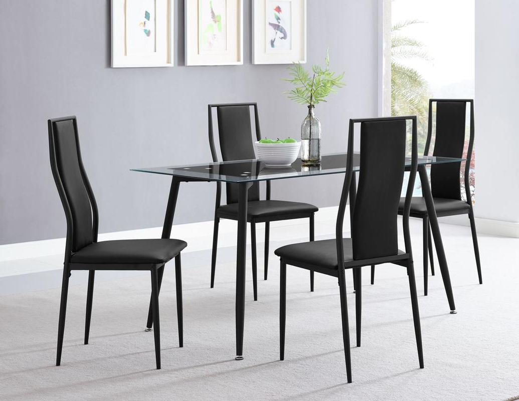 Well Known Dinette Sets – Sm Furniture Throughout Frosted Glass Modern Dining Tables With Grey Finish Metal Tapered Legs (View 6 of 25)